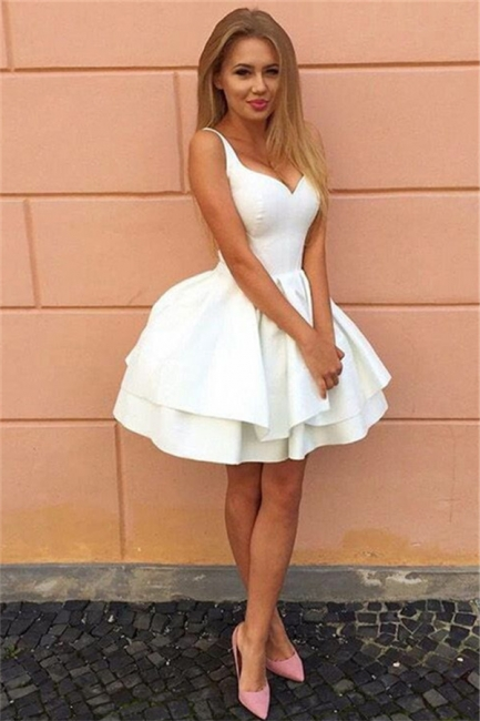 Sexy Straps V-neck Tiered Short Pary Dresses  Lace-Up Puffy  Homecoming Dress BA7022