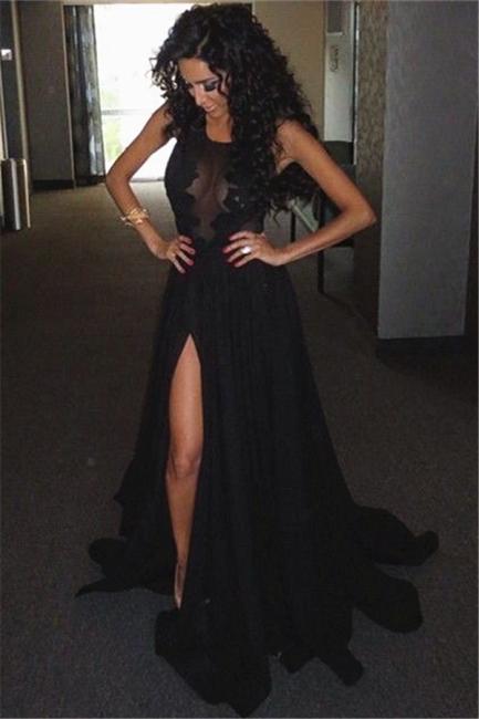Sheer Top Sleeveless Side Slit Evening Dress Black Lace Sexy  Prom Dresses  BO8075