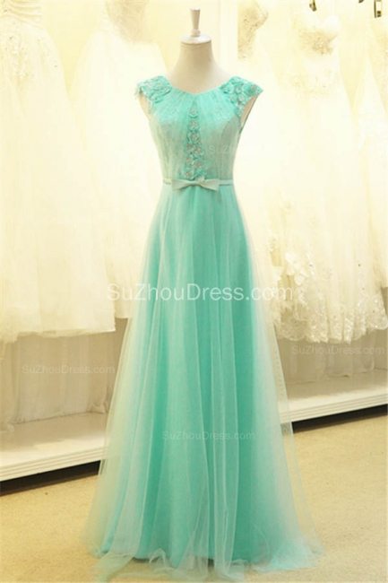A Line Elegant Tulle Lace Long Prom Dresses with Flowers Formal Affordable Zipper Bowknot Dresses for Juniors