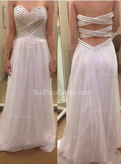 White  Prom Dresses Sleeveless Sweetheart A Line Floor Length Chiffon Sequins Cross Back Elegant Evening Gowns