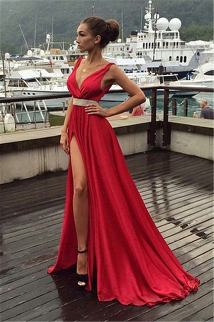 Deep V-neck Front Split Evening Dresses  Sleeveless Sexy Prom Gowns