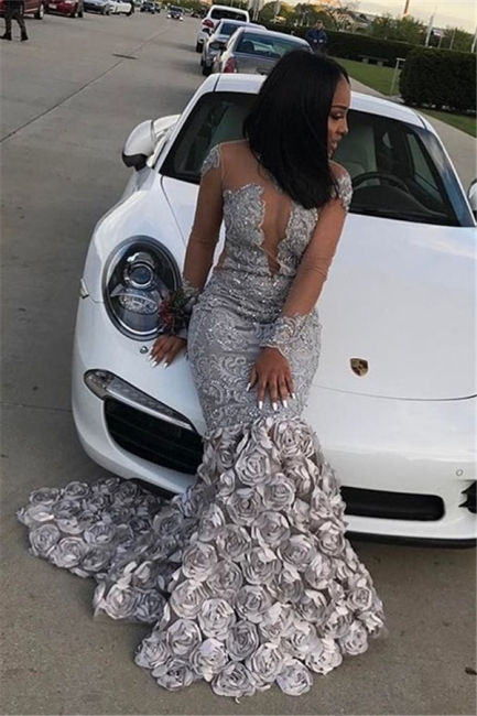 Sexy Mermaid Long Sleeves Prom Dresses  Flowers Appliques Court Train Evening Gowns SK0122
