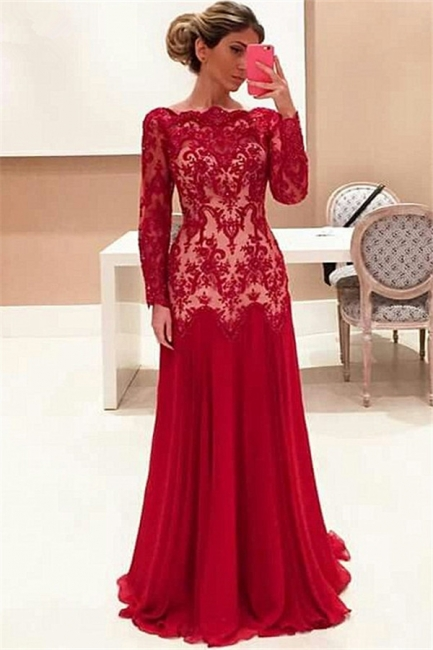 Long Sleeve Red Lace Evening Dresses   High Quality Prom Gowns