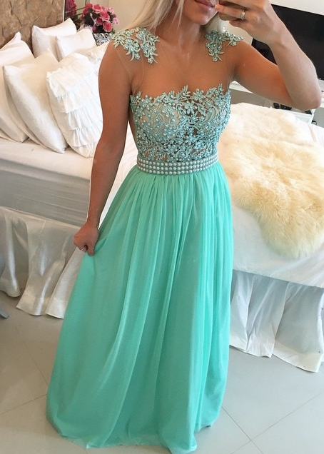 New Arrival Lace Chiffon Prom Dresses  with Beadings Sheer Neck Capped Sleeves Long Evening Gowns BMT010