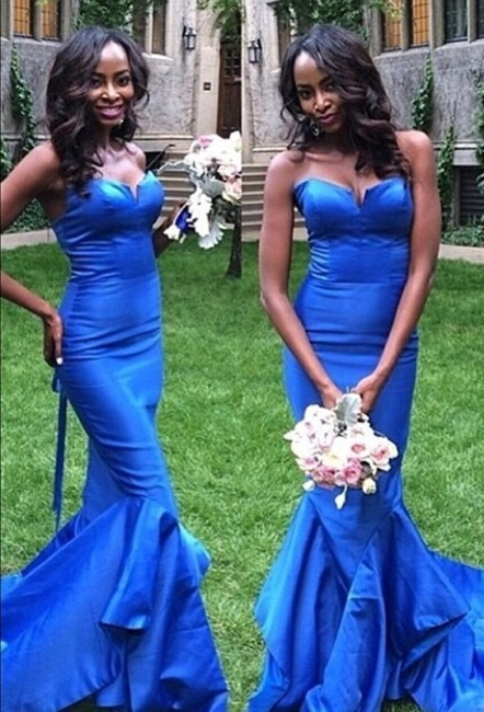 Sexy Blue Sweetheart Long Formal Evening Dress Mermaid Prom Dresses