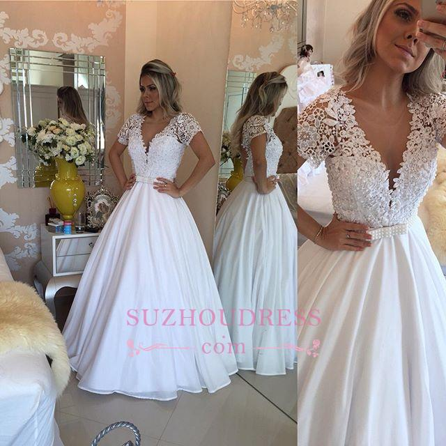 Lace Short Sleeves Evening Dress V-Neck White Crystal Bowknot Prom Dress