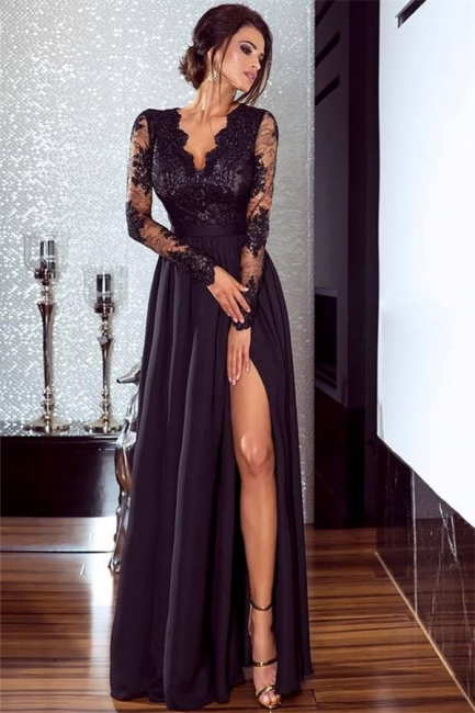 Sexy Split Long Sleeve Evening Dress  Black Lace V-neck  Prom Dresses FB0191