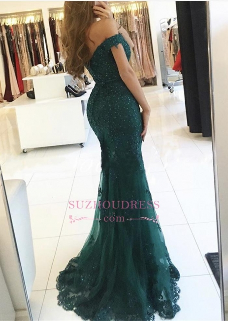 Dark Green Charming Mermaid Evening Gowns Off-the-Shoulder Lace Appliques  Prom Dress AN0