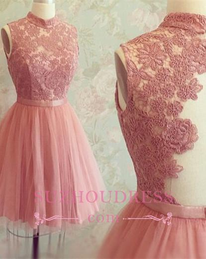 Sleeveless Mini Newest High-Neck Appliques Lace Homecoming Dress