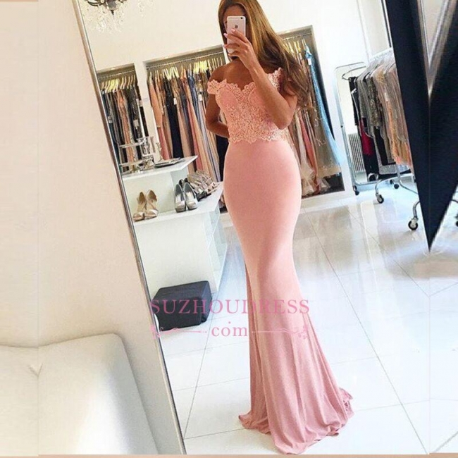 Beading Lace Sheath  Long Sexy Off-the-shoulder Spandex Pink Evening Dresses BA4148