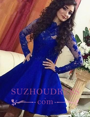 Short A-Line Lace Long Sleeve Short Party Dress Cute  Royal Blue Homecoming Dresses BA3800