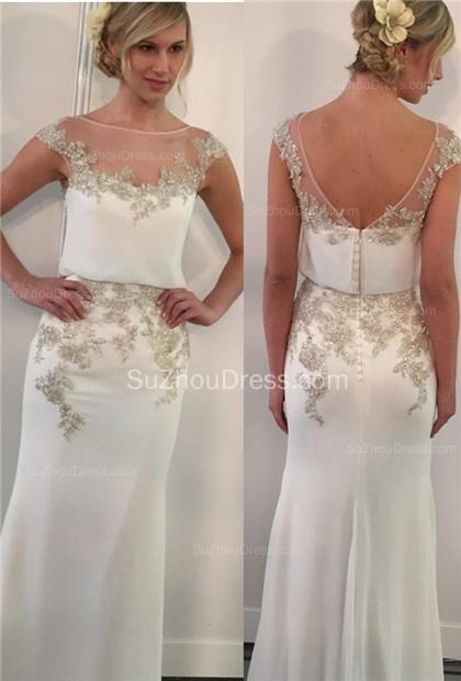 Gorgeous  Prom Dresses Illusion Neck Cap Sleeve Appliques Mermaid Chiffon Zipper Elegant Evening Gowns
