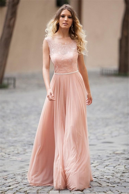 Pink Chiffon Fashion Evening Dresses  Lace Up Open Back Formal Dress with Belt BA3492