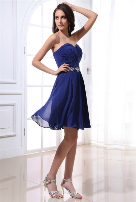 Navy Blue Cocktail Dresses  Sweetheart Sleeveless Short Chiffon Beading Sequins Sash Short Elegant Homecoming Gowns