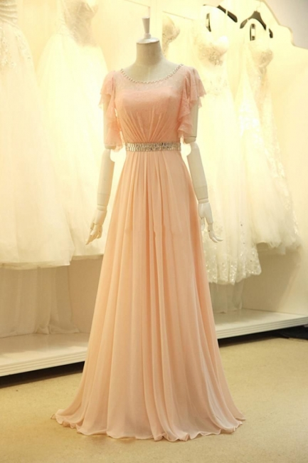 Pink Lace Sparkly Crystal Sash Cute Long Prom Dresses with Unique Sleeve Pretty  Popular Evening Gowns
