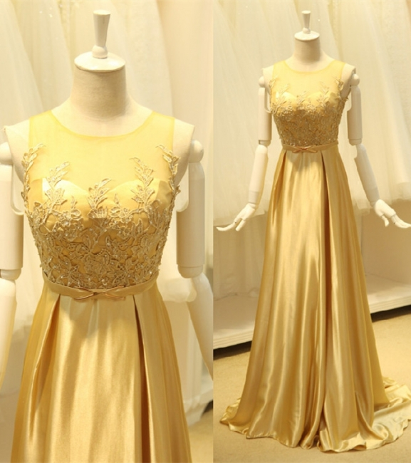 Elegant Gold Silk Chiffon Long Evening Dresses Sweep Train Sheer Top Beads Popular Prom Dresses