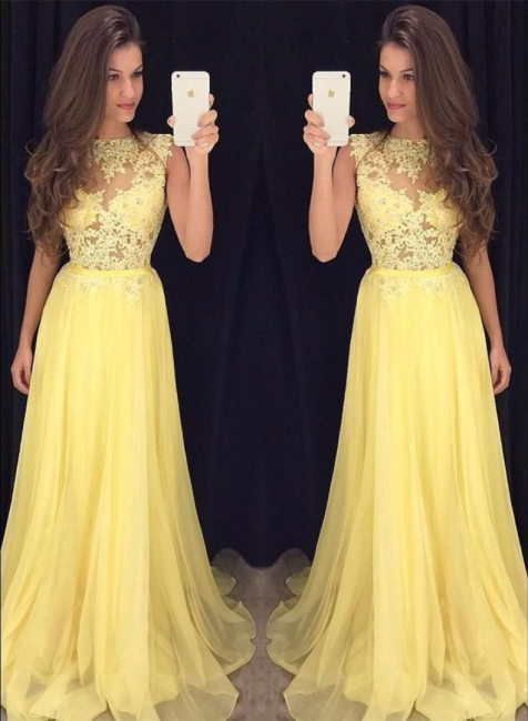Lace Chiffon  New Prom Dresses Sleeveless A-line  Evening Gowns