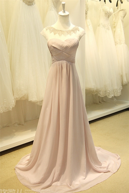 A Line Designer Chiffon Long Crystal Prom Dresses Simple Formal Inexpensive Ruffle Dresses for Junior