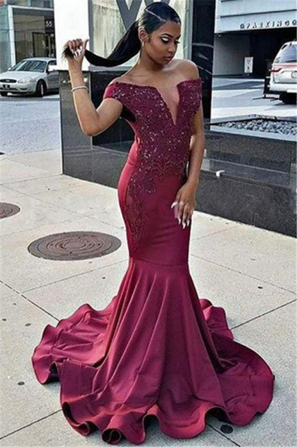 Off The Shoulder Mermaid Prom Dress  | Ruffles V-neck Beads Appliques Evening Dress
