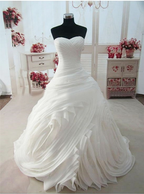 Sweetheart Ruffles White Long Bridal Gown Unique Organza Custom Made Wedding Dresses