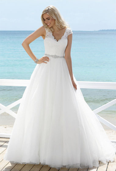 Lace Crystal Beading Wedding Dresses A Line V Neck Cap Sleeves  Tulle Bridal Gowns