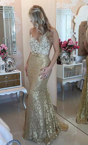 Sexy Mermaid Lace Beadings Evening Dress Latest Floor Length Trumpet Prom Dress BA4767
