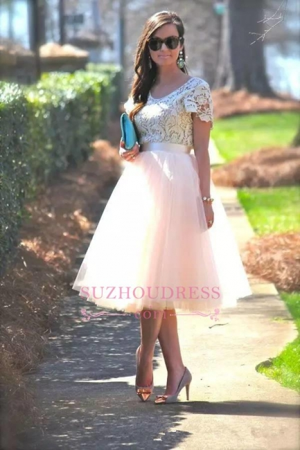 Elegant Lace Short Sleeves Tea Length A-Line Tulle Evening Dress