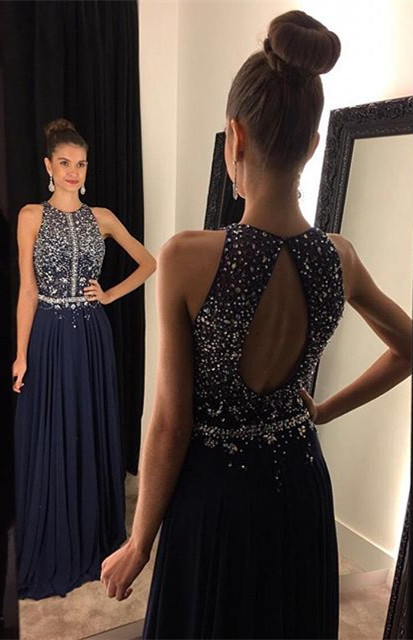Sparkly Dark Navy Halter Crystal Prom Dress A-Line Sleeveless Beading Party Gown