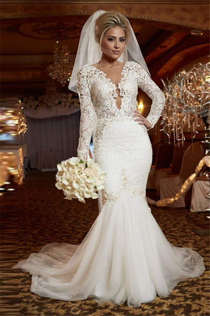 Scoop Long Sleeve Lace Wedding Dress Online Mermaid Backless  Bridal Gowns WE0035