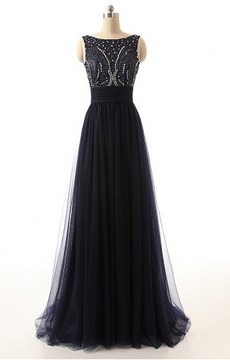 A-Line Black Tulle Long Prom Dresses with Beadings Open Back Formal Bowknot Custom Made Special Occassion Dresses