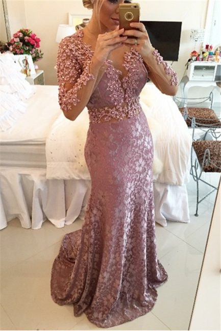 Sexy Sheer Neckline  Popular Prom Dresses Long Sleeve Backless Plus Size Formal Dress BMT013