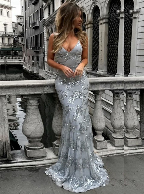 Sexy V-Neck Mermaid Prom Dresses  Sequined Backless Evening Gowns SK0022