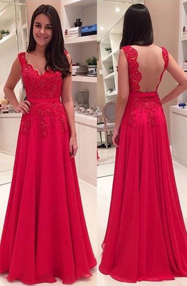 A-Line Red Elegant Floor Length Prom Dress Lace Applique Open Back Evening Dresses