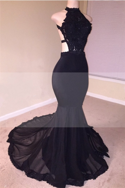 Sexy Black Open Back Lace Prom Dresses |  Sleeveless See Through Tulle  Evening Gown