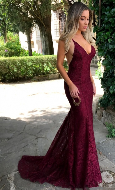 Sexy V-neck Burgundy Lace Formal Evening Dresses  Backless Mermaid Prom Dress FB0157