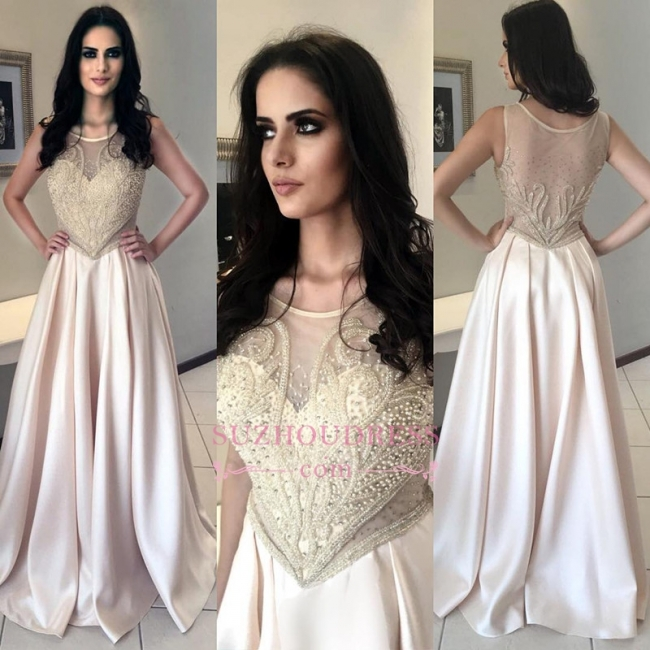 Champagne Pearls Sleeveless Prom Dress   Long Scoop A-Line Evening Dresses