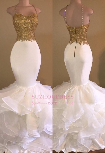 Ruffles Lace Appliques Sleeveless Evening Dress Spaghetti Strap Gold Beading Sexy Mermaid Prom Dress