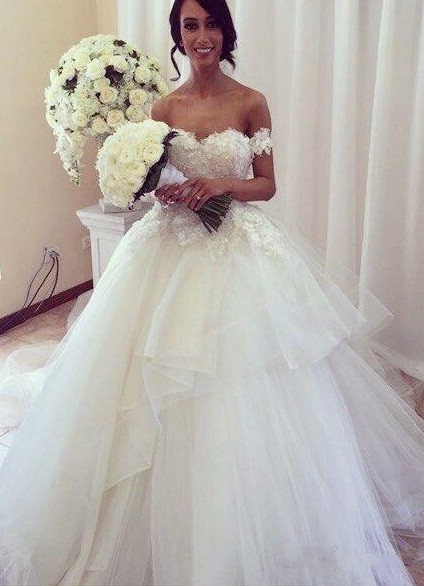Charming Wedding Dresses  Off The Shoulder Tulle Appliques  Bridal Gowns
