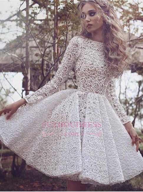 Unique Long Sleeves Full Lace Evening Gowns Short Homecoming Dress  BA3645