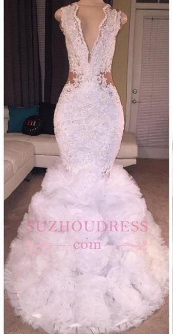 Lace Deep-V-neck Criss-cross Ruffles  Mermaid Sleeveless Appliques Prom Dress BA5316