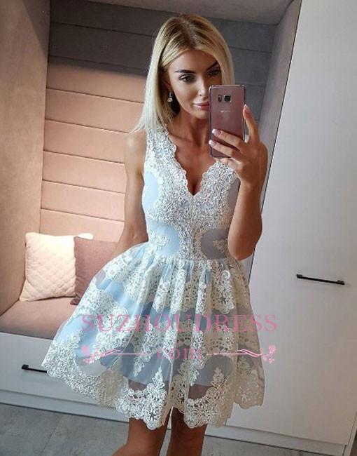 New Arrival Light-blue Lace A-line Short V-neck Homecoming Dress
