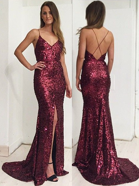 Burgundy Sequins Spaghetti Straps Evening Dress  Front Slit Open Back Prom Dress BA7712