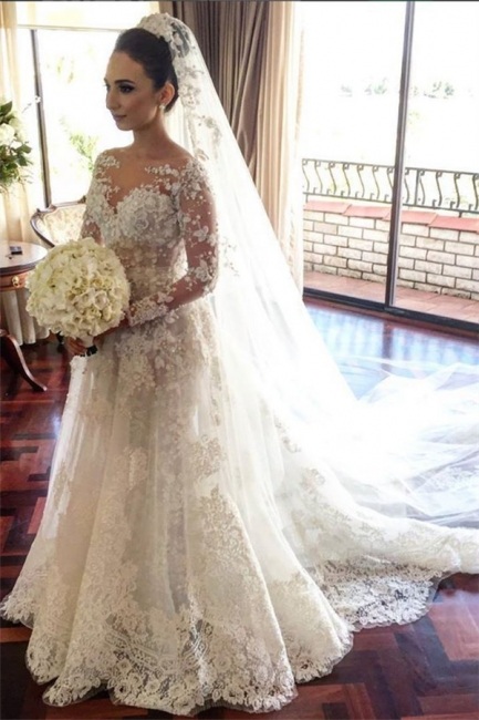 Classic Lace A Line Wedding Dress  Long Sleeve with Flowers Custom Made Wedding Gowns BA3455
