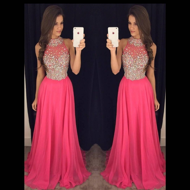 Sparkly Crystals Prom Dresses  Long Chiffon Hater Evening Gowns BA4580
