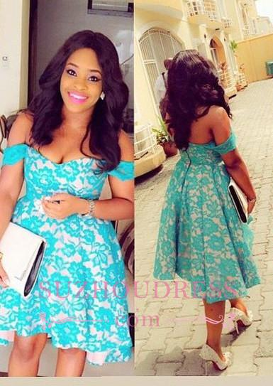 Lace  Elegant Hi-Lo Off-the-Shoulder Homecomig Dress