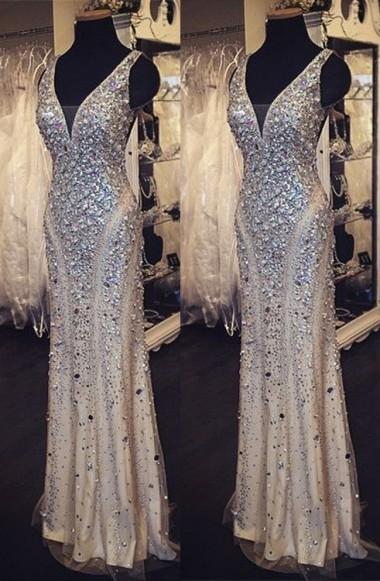 Luxurious Sheath Rhinestones Formal Occasion Dress New Floor Length Evening Gown