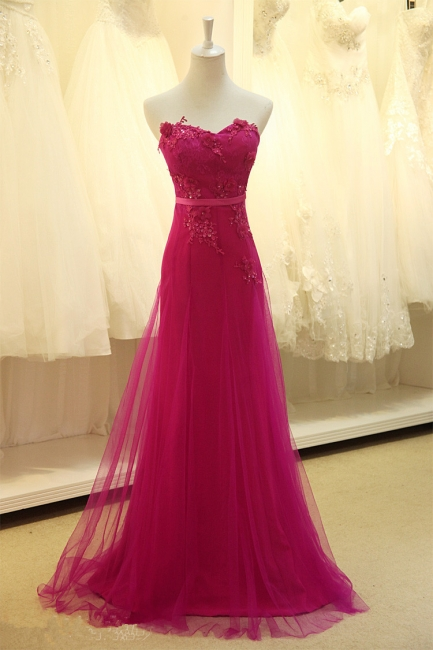 Elegant Sweetheart Applique Fushcia Tulle Dresses for Junior A Line BeautifuL Long Custom Prom Dresses with Flowers