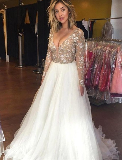 Latest Long Sleeve Beading Prom Dresses Sexy Lace Applique  Evening Gowns
