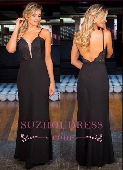 Sexy Simple Black Open-Back Appliques Spaghetti-Straps Prom Dress