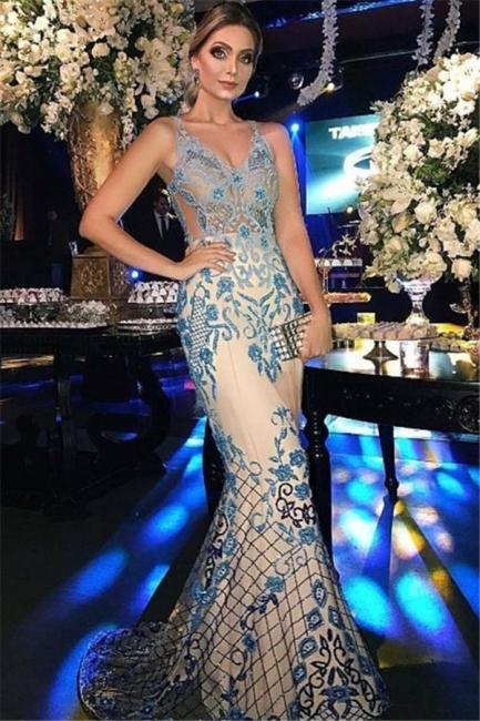 Sexy Mermaid Beads Appliques Evening Dresses  | Gorgeous Sleeveless Mermaid Prom Dresses